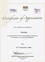 Jetwing - Certificate of Appreciation